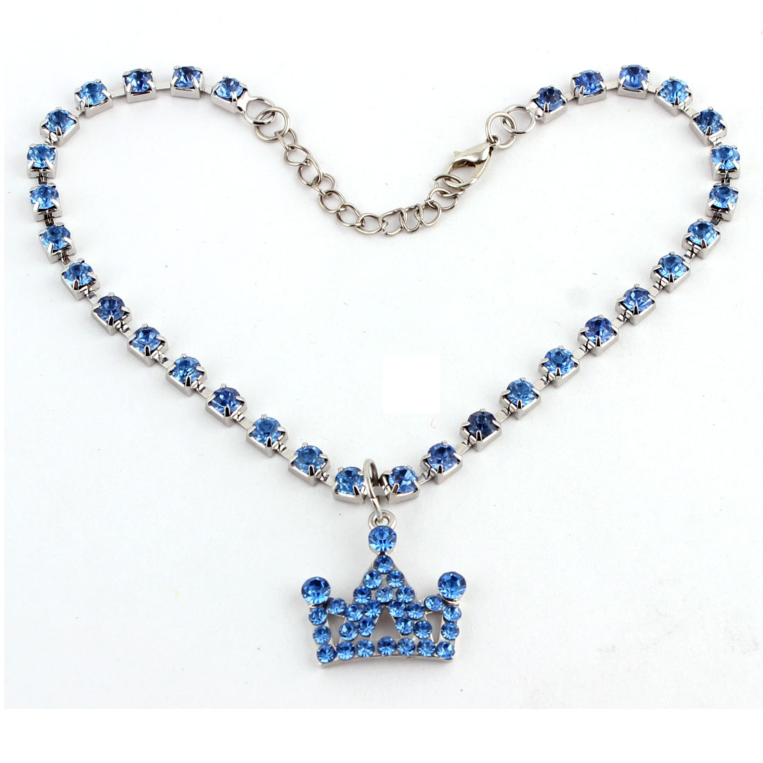 Dog Metal Beads Linked Rhinestone Inlaid Crown Shaped Pendant Decor Necklace Blue