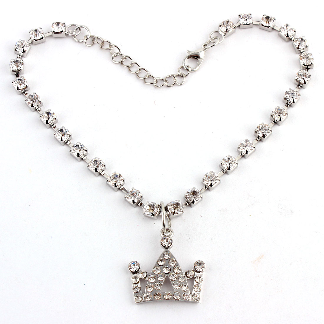 Dog Metal Beads Linked Rhinestone Inlaid Crown Shaped Pendant Decor Necklace White