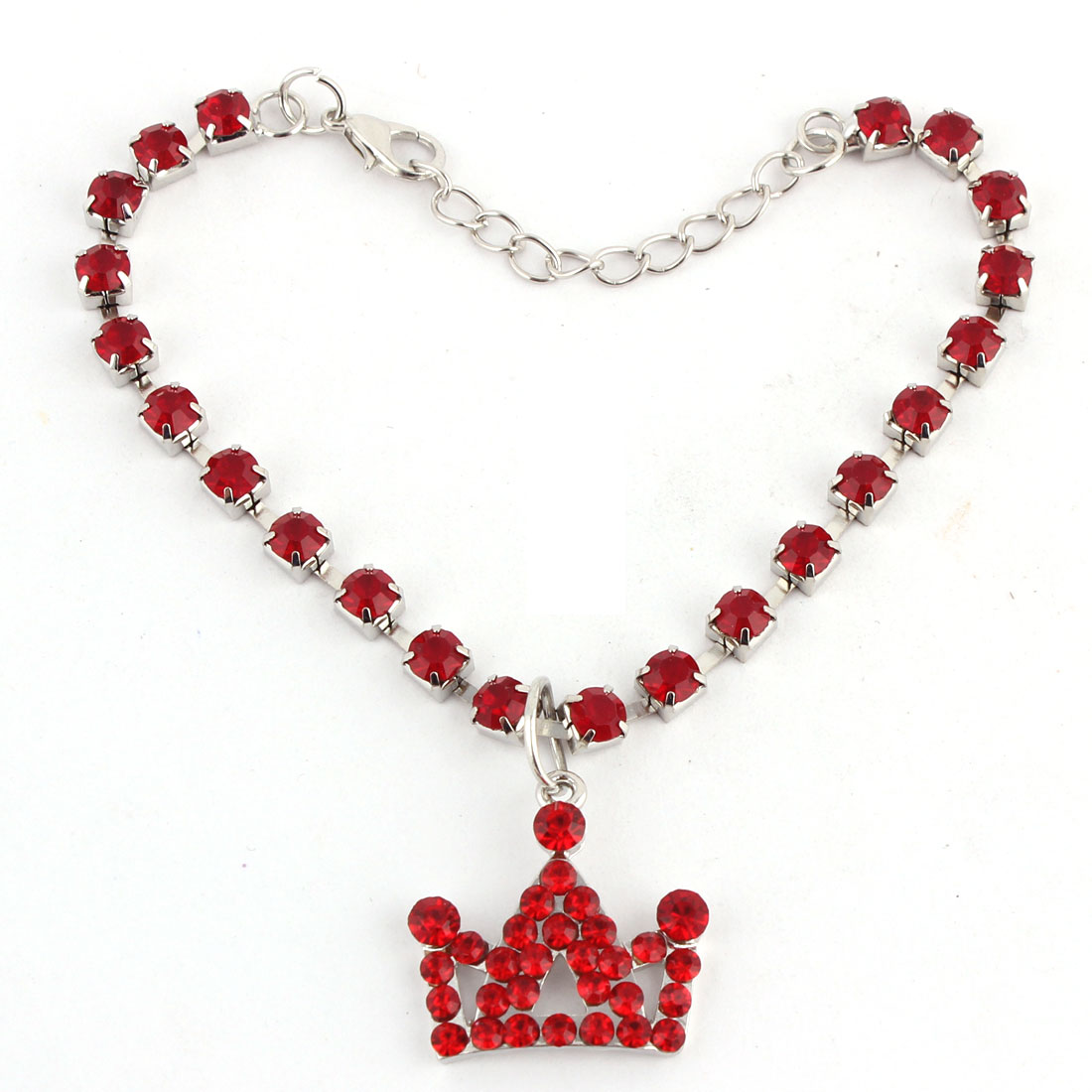 Dog Metal Beads Linked Rhinestone Inlaid Crown Shaped Pendant Decor Necklace Red