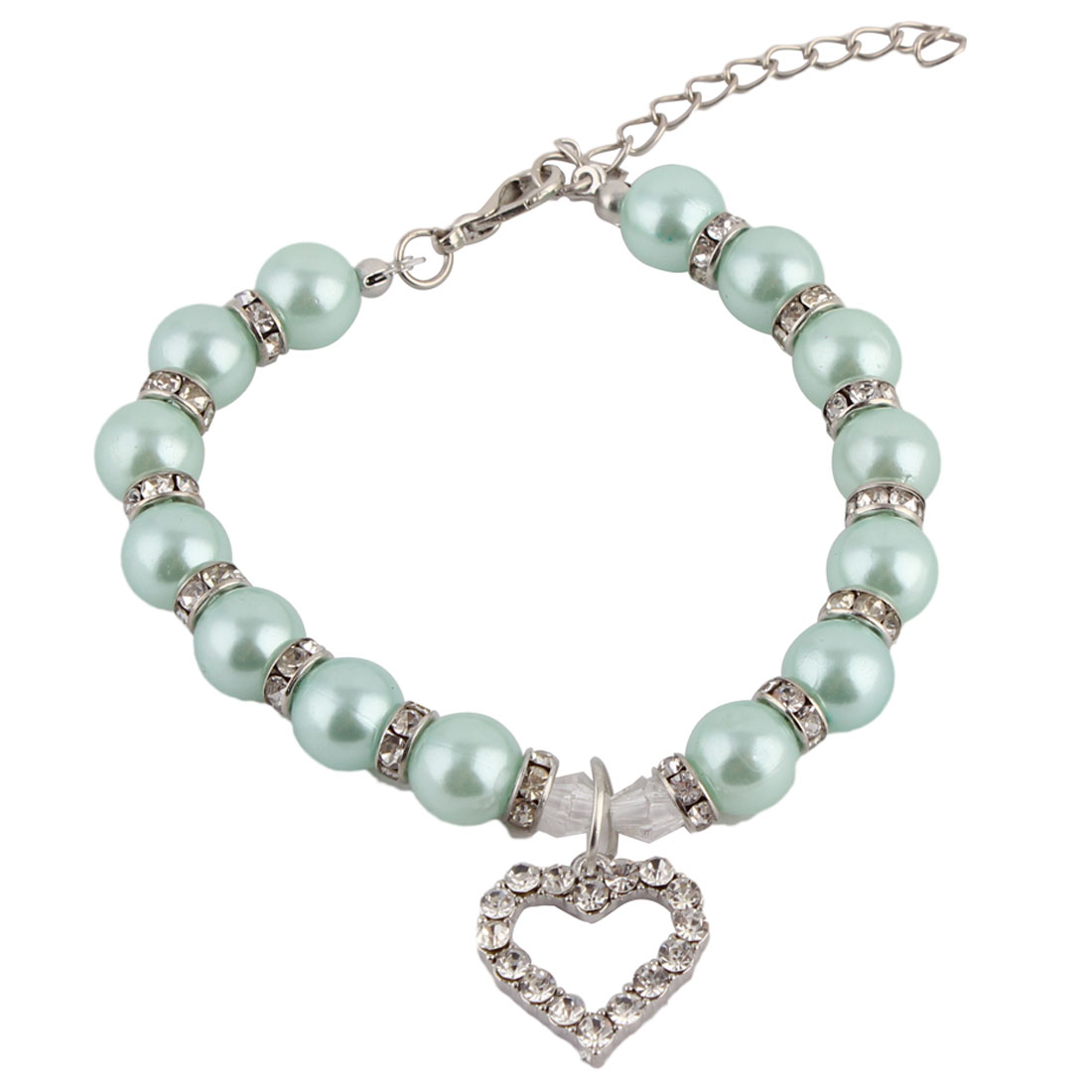 Pet Dog Plastic Beads Linked Heart Shaped Pendant Decor Collar Necklace Cyan