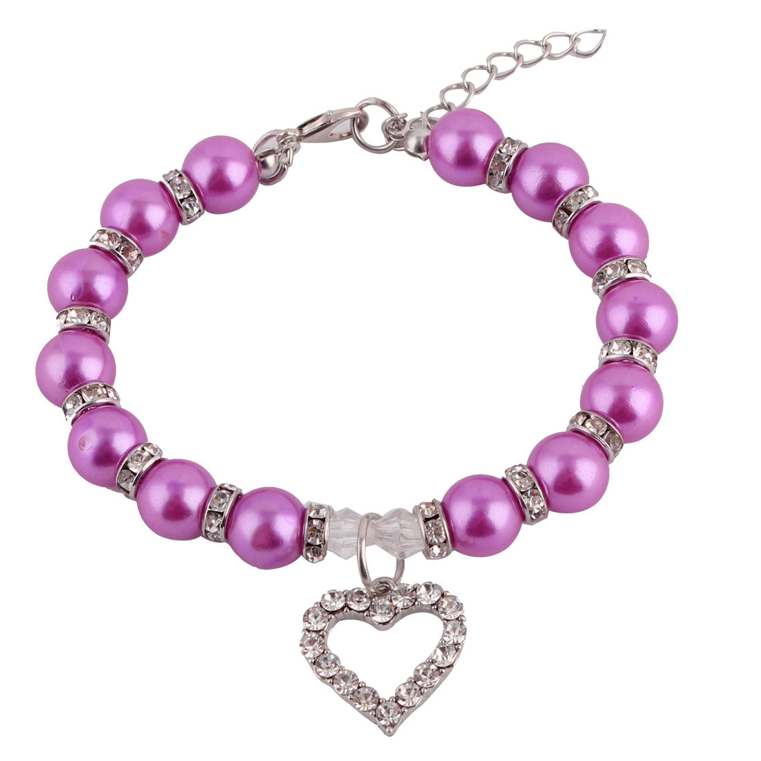Pet Dog Plastic Beads Linked Heart Shaped Pendant Decor Collar Necklace Purple