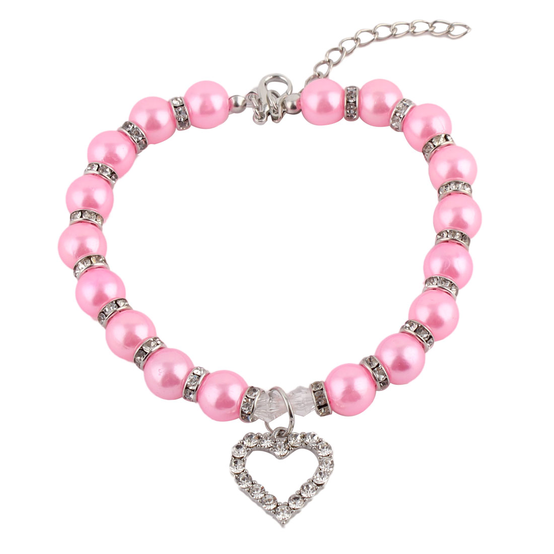 Dog Plastic Beads Linked Heart Shaped Pendant Decor Collar Necklace Dark Pink