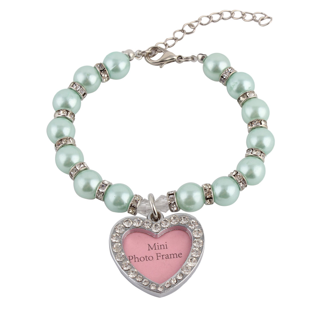 Dog Plastic Jewelry Imitation Pearl Linked Heart Shaped Pendant Decor Necklace Cyan