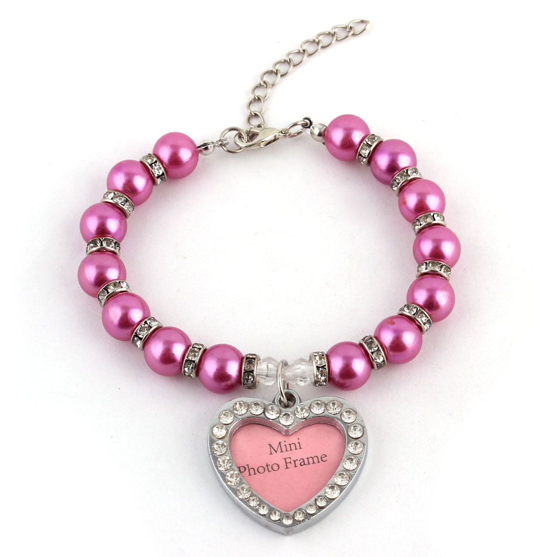 Puppy Plastic Jewelry Imitation Pearl Linked Heart Shaped Pendant Decor Necklace