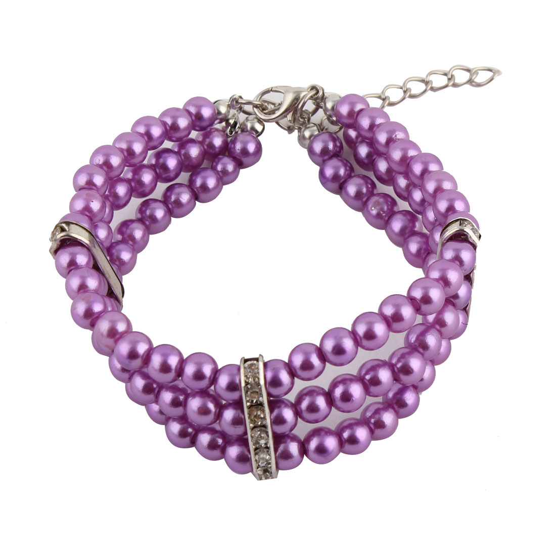 Pet Dog Plastic Three Rows Round Beads Linked Collar Necklace Purple