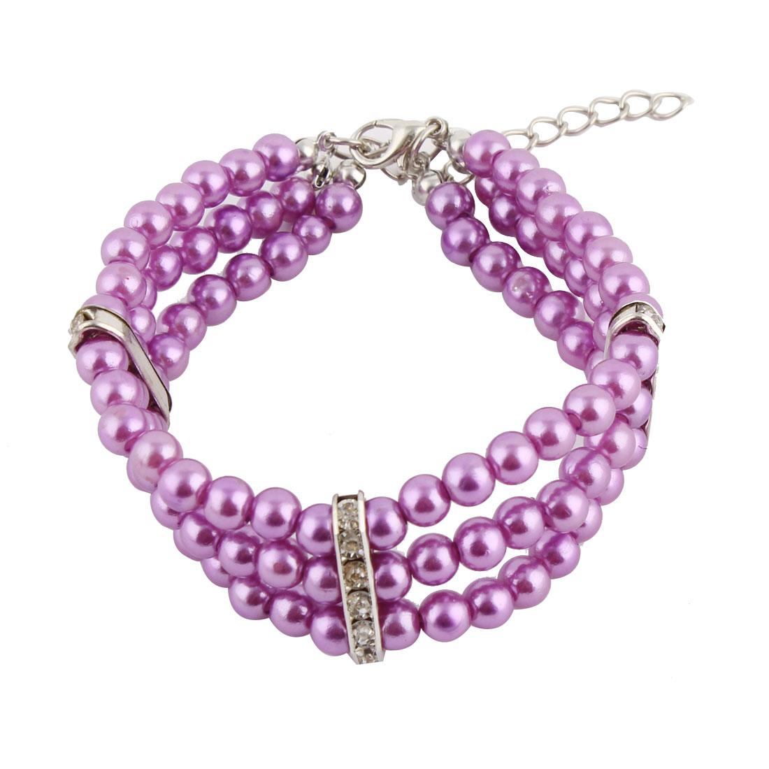 Pet Dog Plastic Three Rows Round Beads Linked Collar Necklace Purple