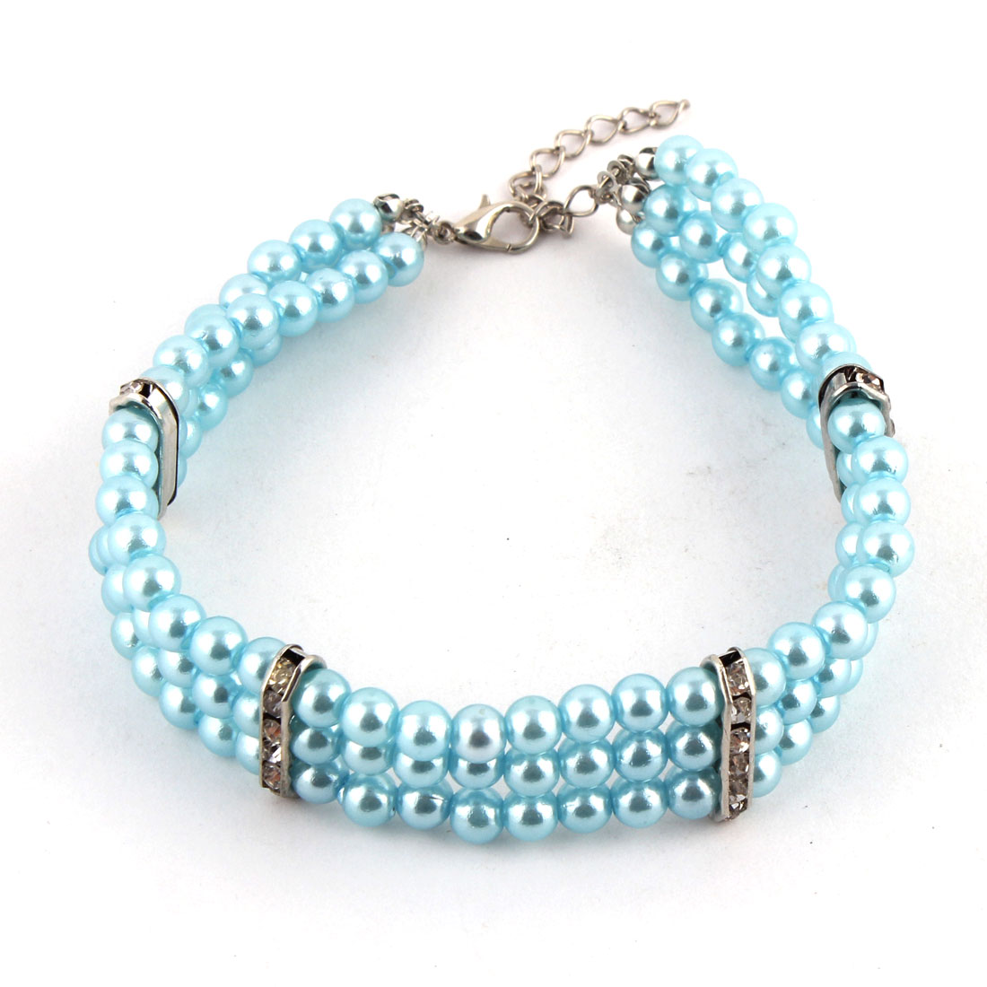 Pet Dog Plastic Three Rows Round Beads Linked Collar Necklace Cyan