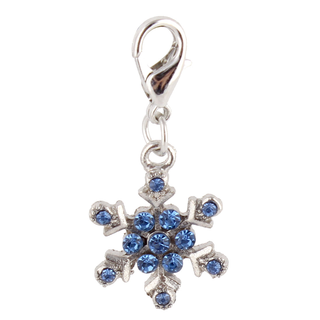 Pet Dog Metal Snowflake Shaped Rhinestone Inlaid Pendant Blue Silver Tone