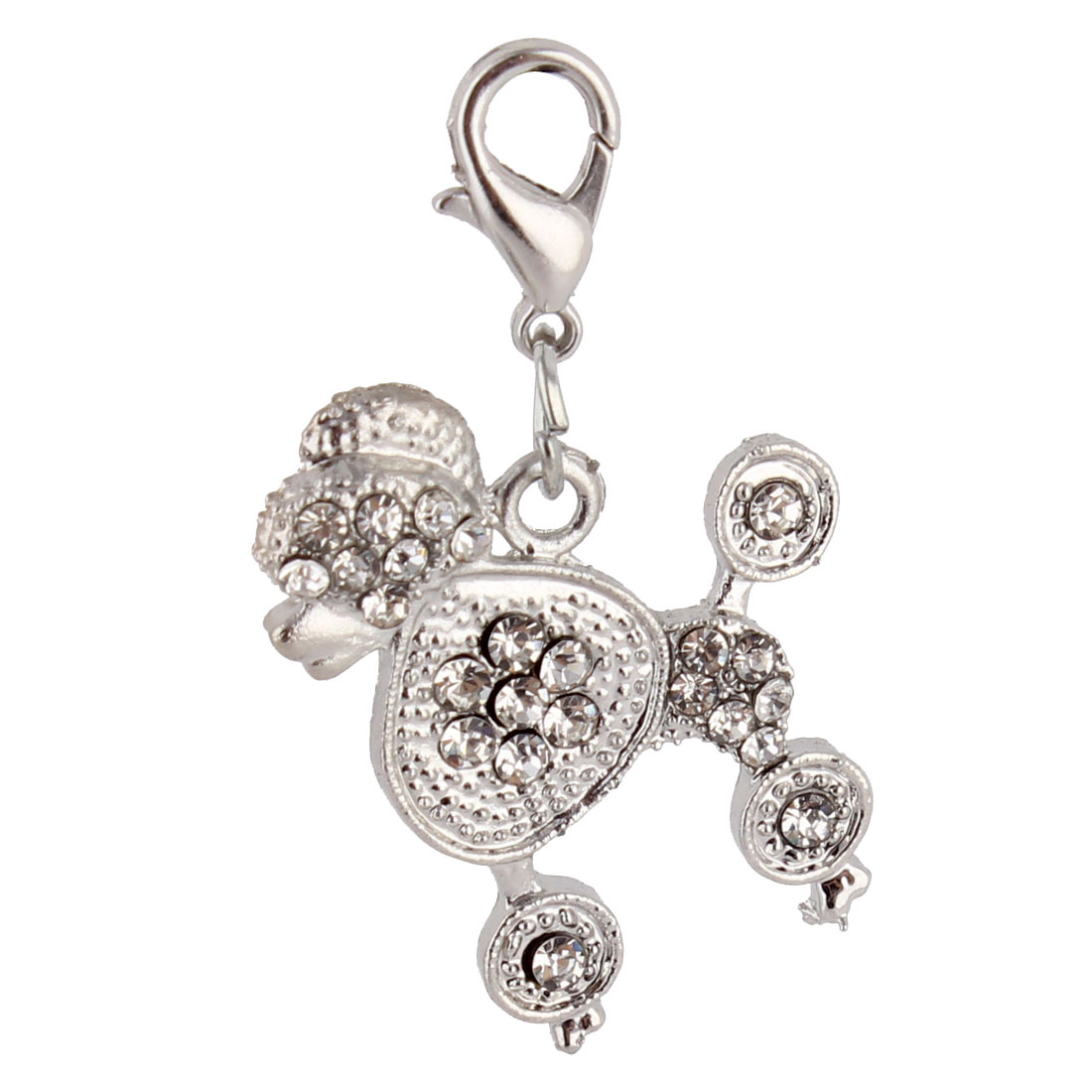 Pet Puppy Metal Dog Shaped Rhinestone Inlaid Pendant Silver Tone White