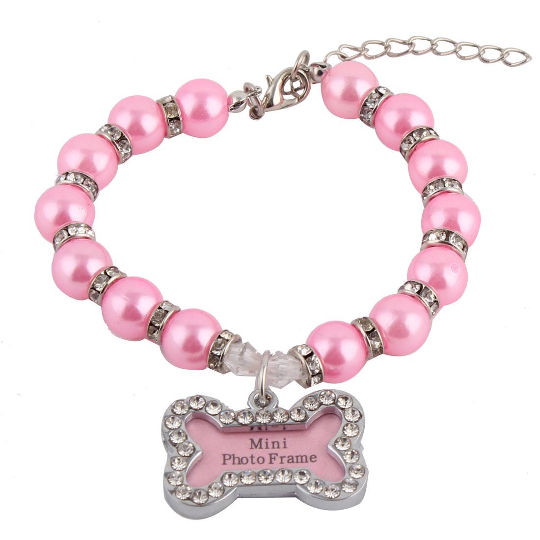 Pet Dog Plastic Round Beads Linked Bone Shaped Pendant Decor Necklace Dark Pink