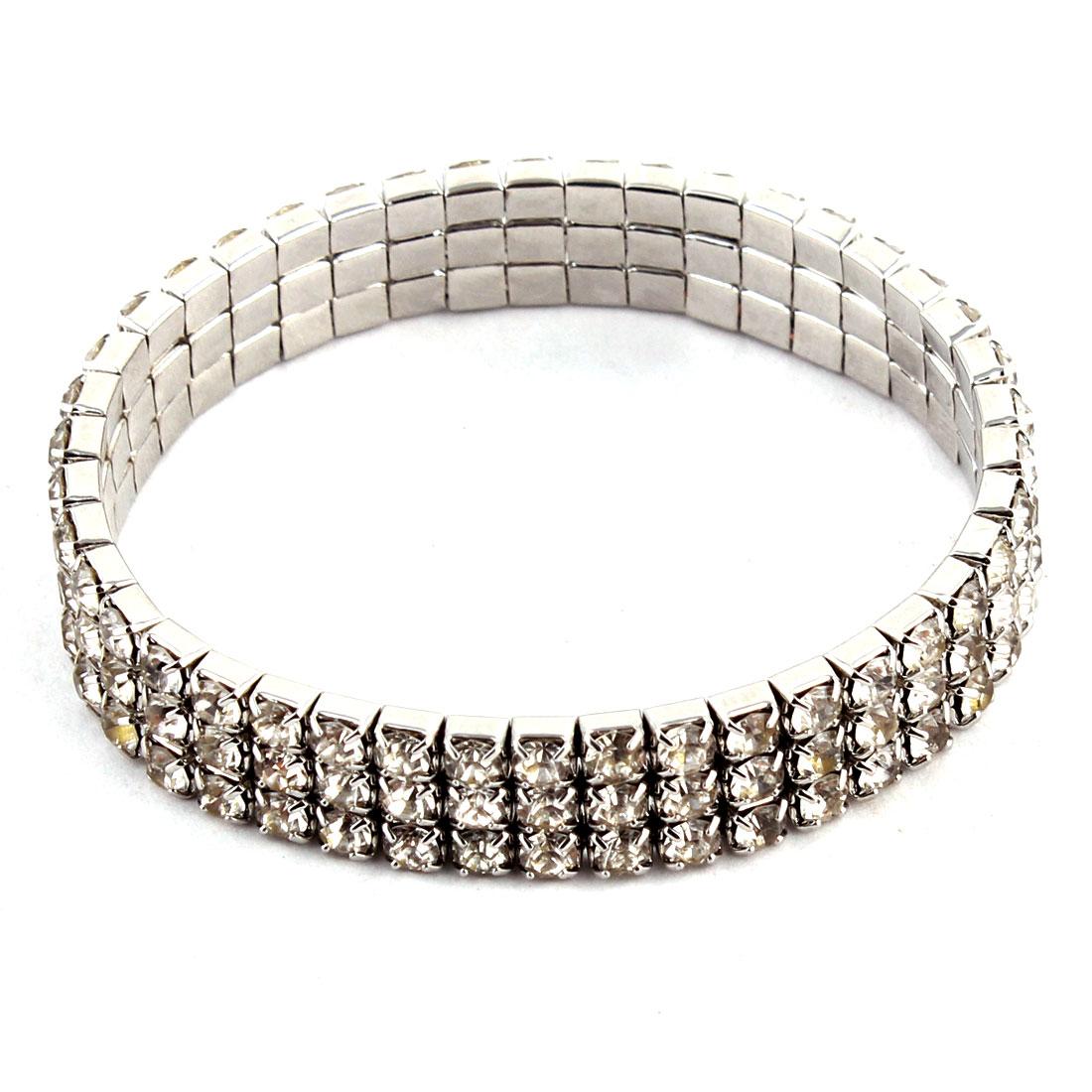Dog Metal Three Rows Beads Linked Plastic Rhinestone Inlaid Elastic Necklace
