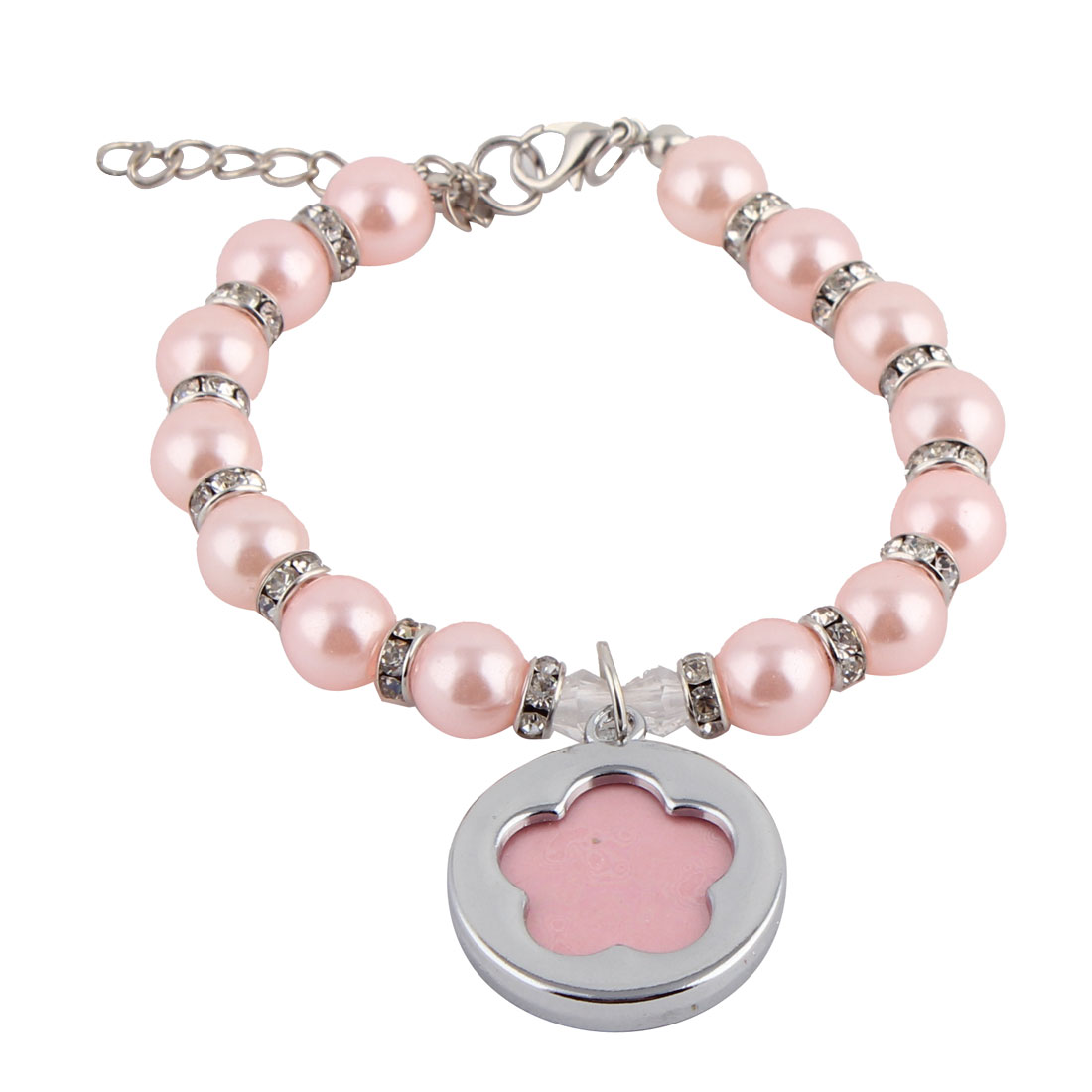 Dog Plastic Beads Linked Round Shaped ID Tag Pendant Decor Necklace Pink