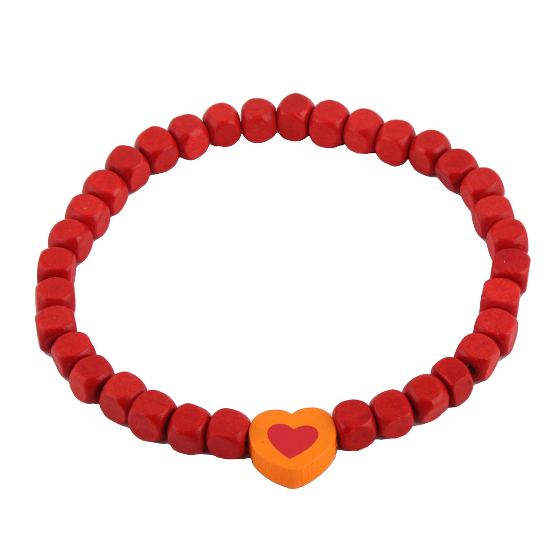 Dog Cat Wood Beads Heart Shaped Pendant Decor Stretchy Collar Necklace Red Orange