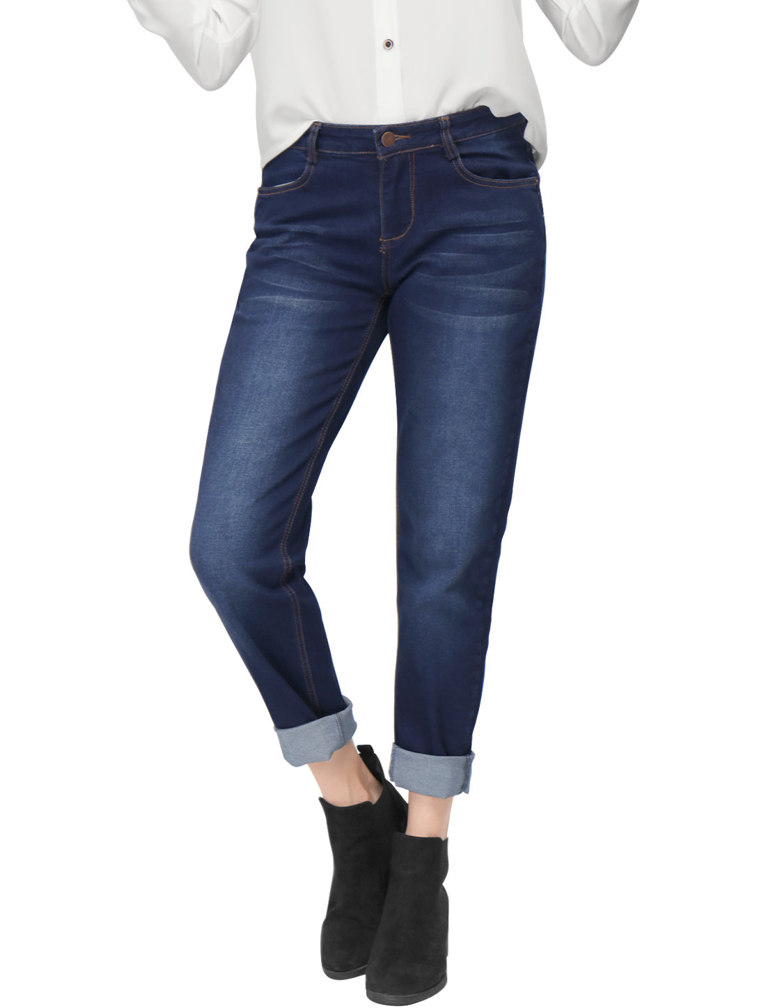 Women Zip Fly Button Closure Pockets Boyfriend Jeans Blue XL