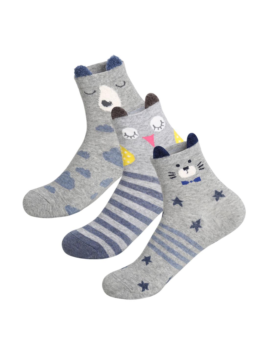 Women 3 pair Animal Stripes Novelty Dots Pattern Crew Socks 9-11 Gray