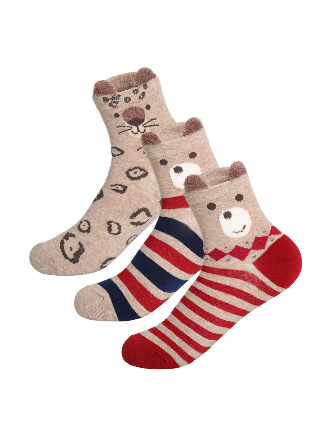 Women 3 pair Animal Stripes Novelty Pattern Crew Socks 9-11 Brown
