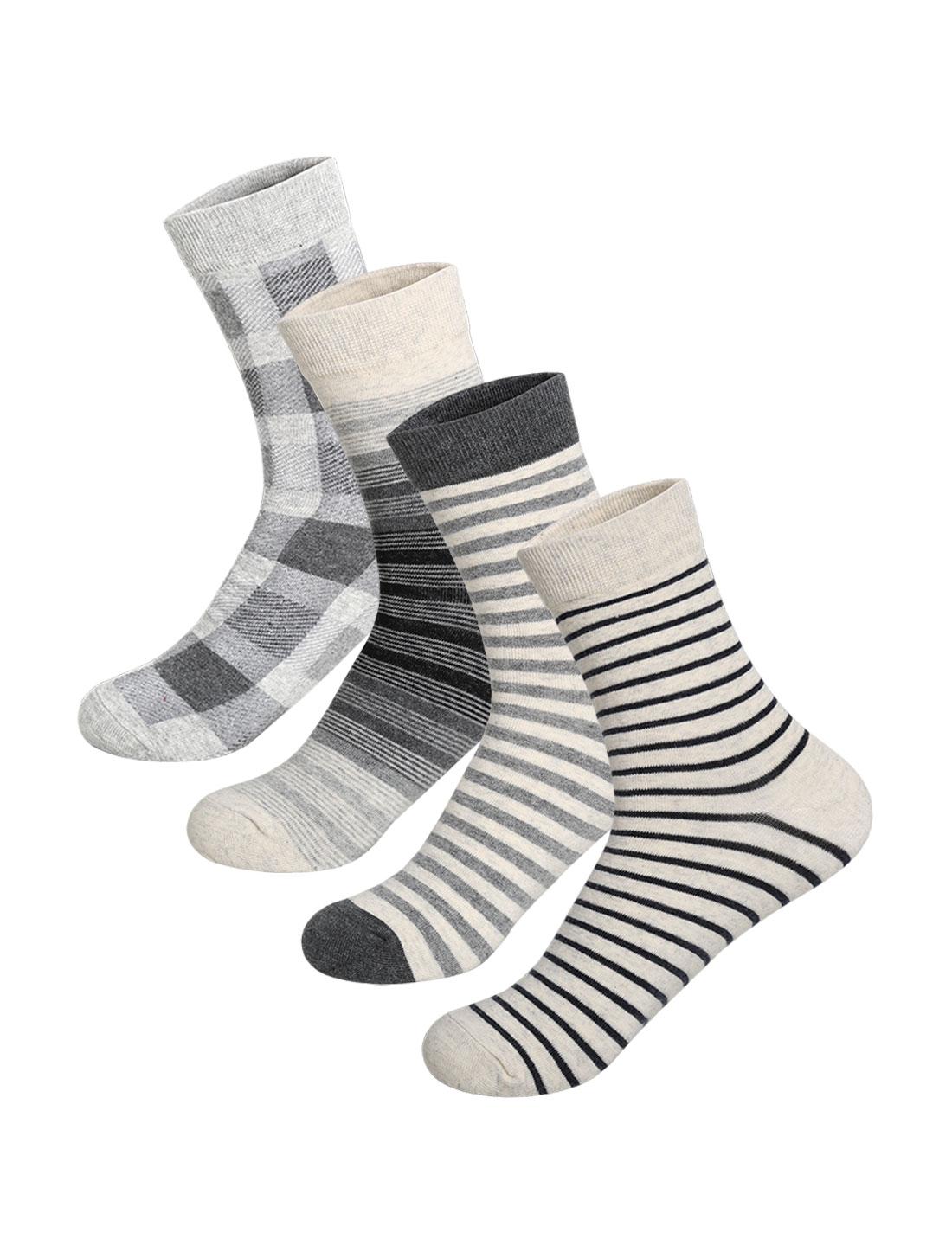 Men 4 pair Stripes Plaids Pattern Crew Socks 10-12 Assorted-Light Gray