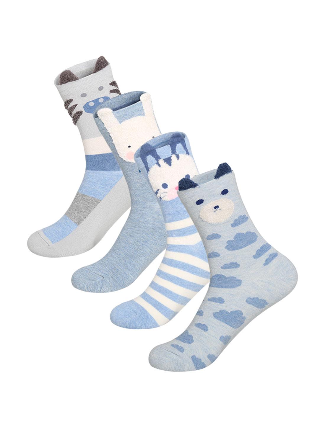 Women 4 pair Animal Stripes Novelty Pattern Crew Socks 9-11 Assorted-Blue