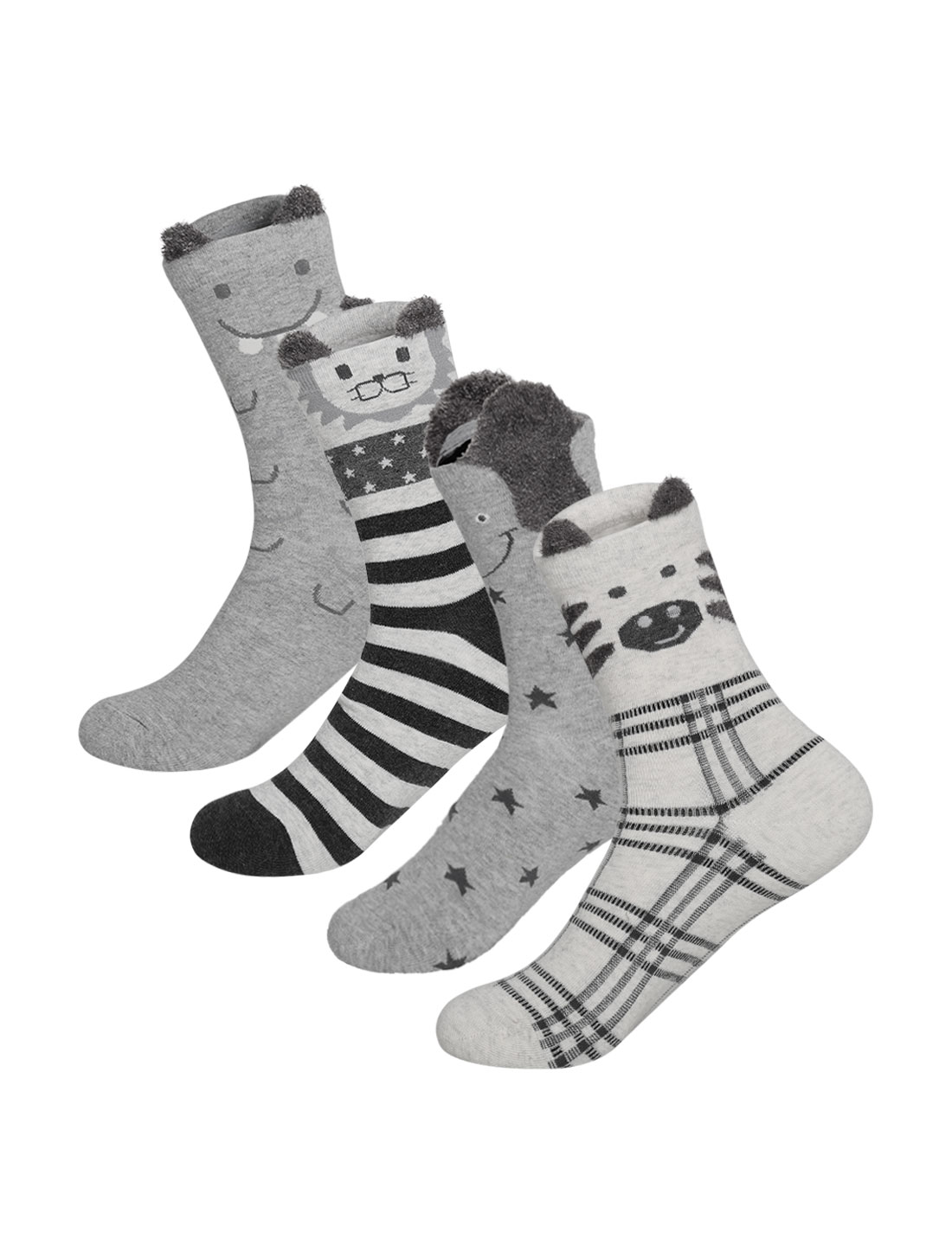 Women 4 pair Animal Stripes Stars Pattern Crew Socks 9-11 Assorted-Gray