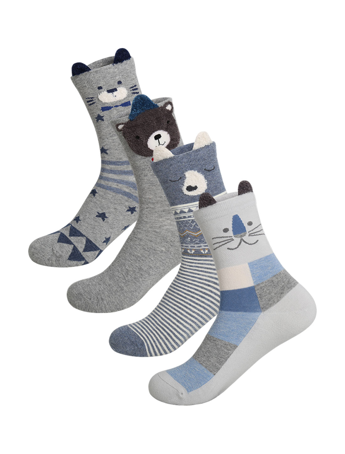 Women 4 pair Animal Stripes Stars Novelty Pattern Socks 9-11 Assorted-2