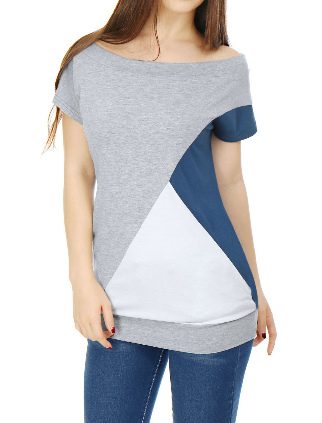 Women Boat Neck Batwing Sleeves Color Block Tunic Top Gray L