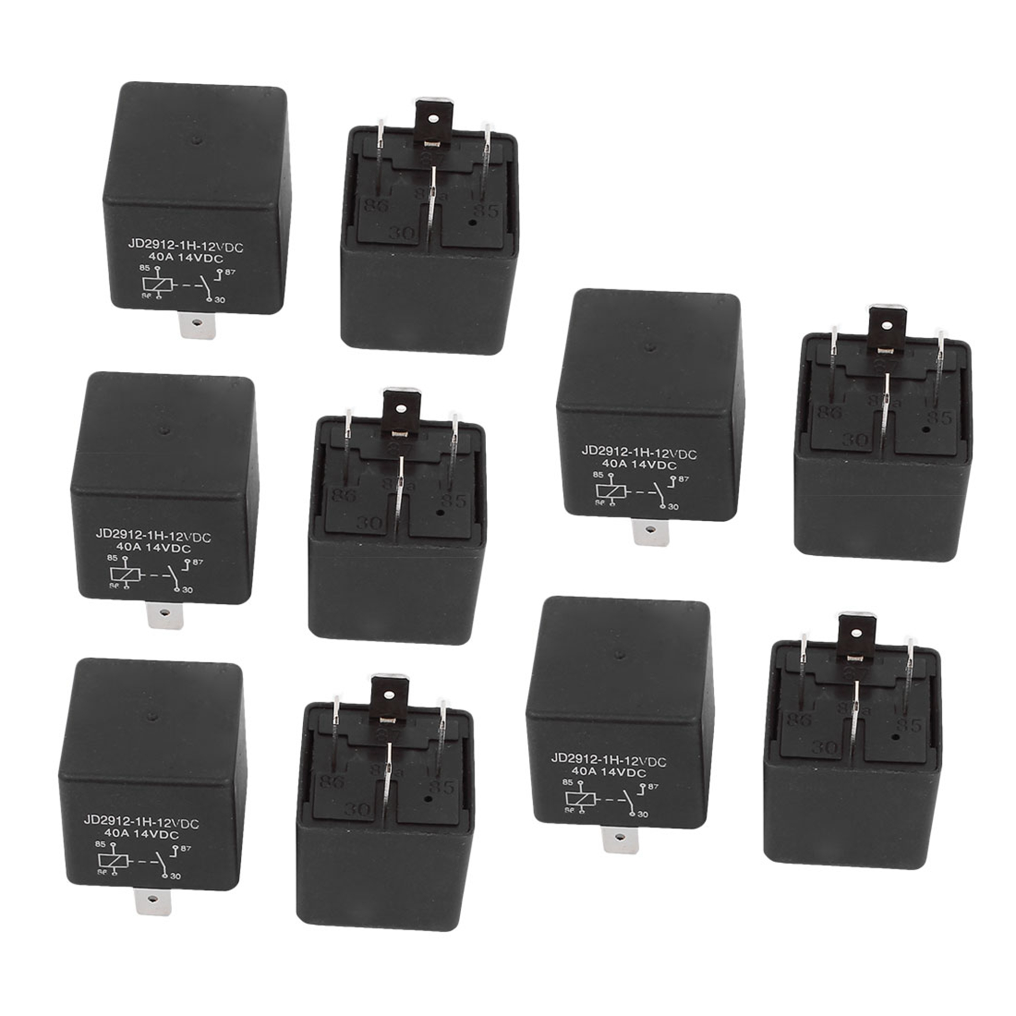 JD2912 DC 12V Coil 40A 4 Pins SPST Vehicle Car Security Power Relay 10pcs