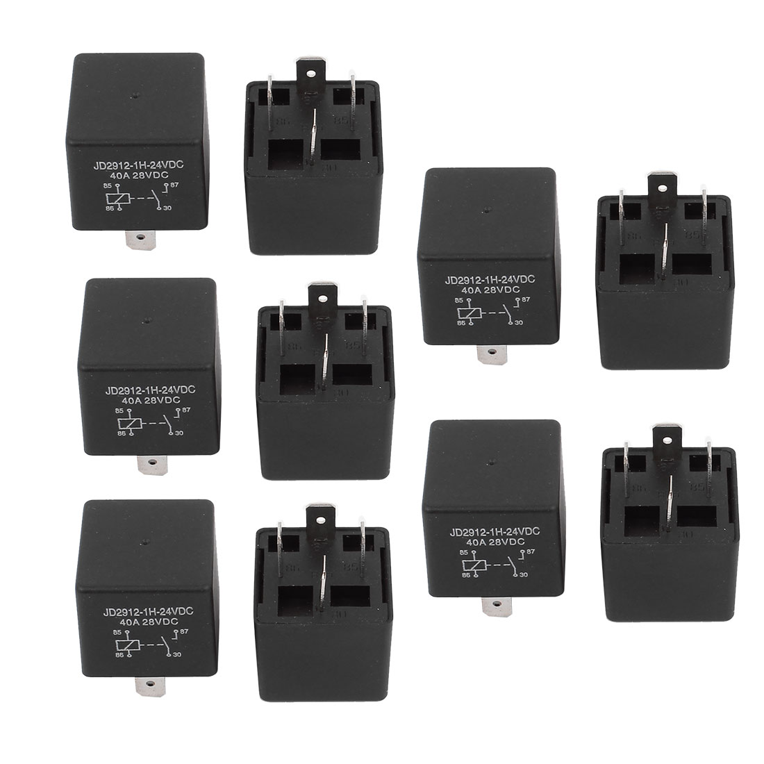 JD2912 DC 24V Coil 40A 4 Pins SPST Vehicle Car Security Power Relay 10pcs