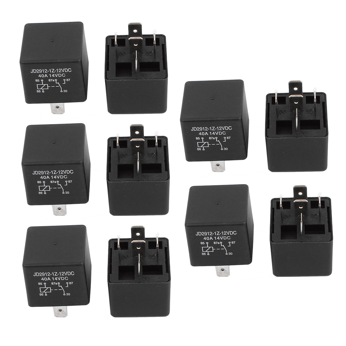 JD2912 DC 12V Coil 40A 5 Pins SPDT Vehicle Car Security Power Relay 10pcs