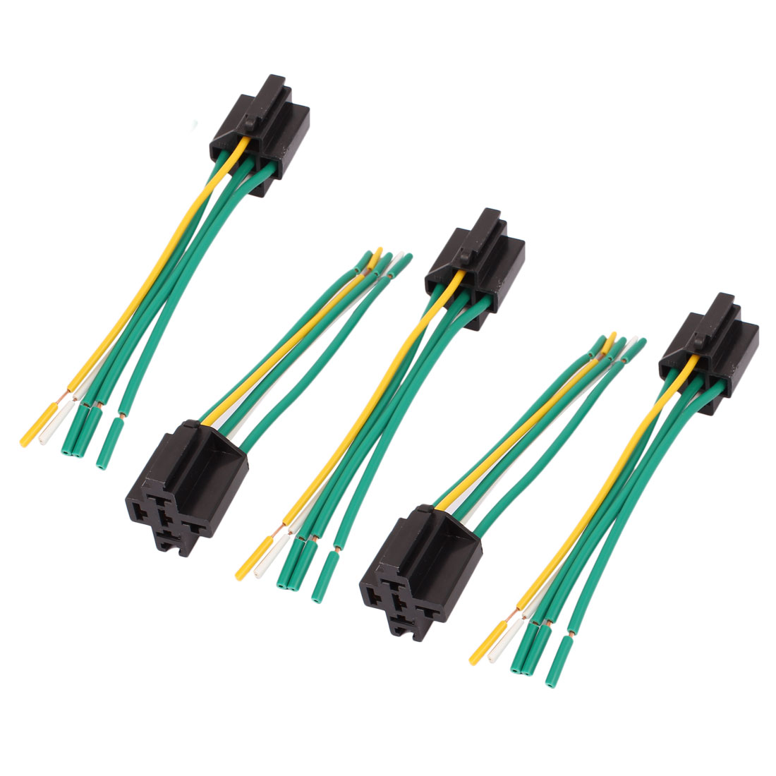 DC 12V/24V 40A Cross Type 5-Pin Relay Socket Harness Connector 5pcs for Car Truck