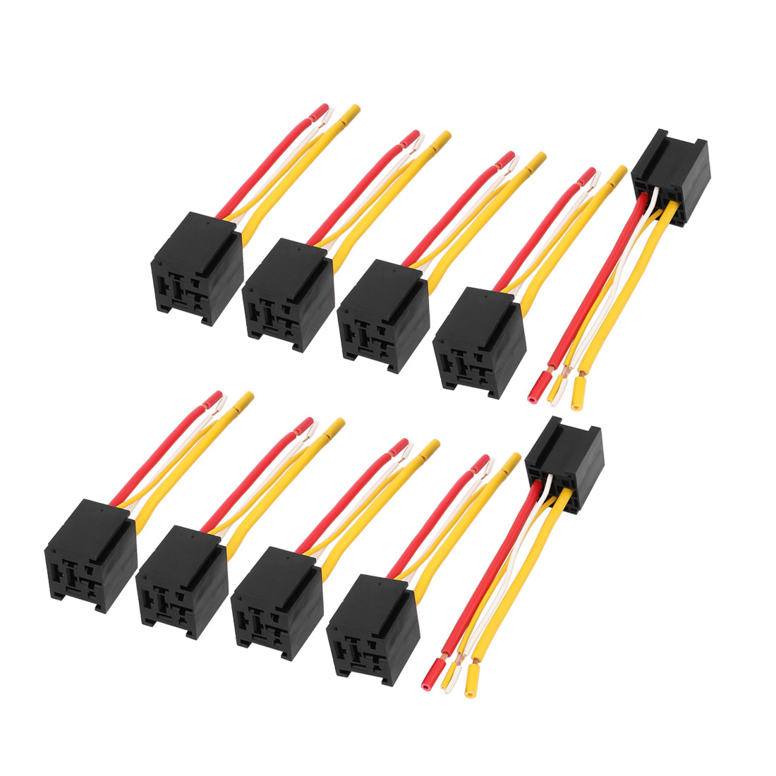 DC 12V/24V 80A 4-Pin Wires Cable Relay Socket Harness Connector 10pcs for Car Truck