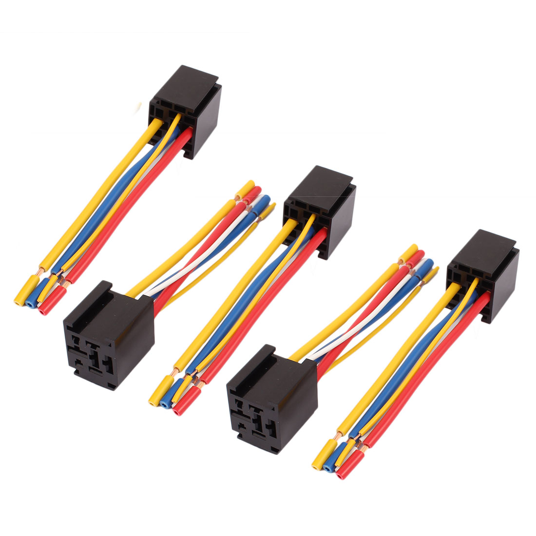 DC 12V/24V 80A 5-Pin Wire Relay Socket Harness Connector 5pcs for Car Truck