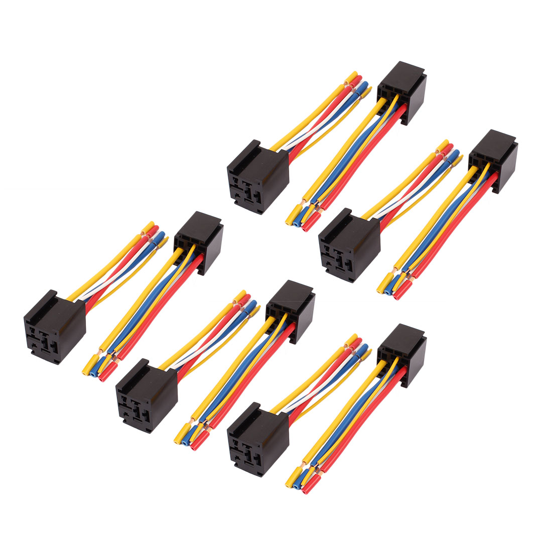 DC 12V/24V 80A 5-Pin Wire Relay Socket Harness Connector 10pcs for Car Truck