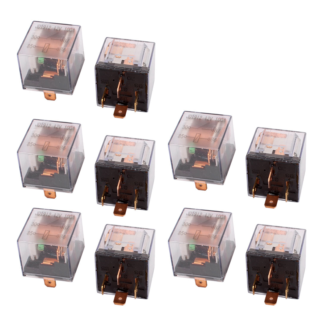 DC 12V 100A 4 Pins SPST Clear Shell Green Light Car Automotive Alarm Relay 10pcs