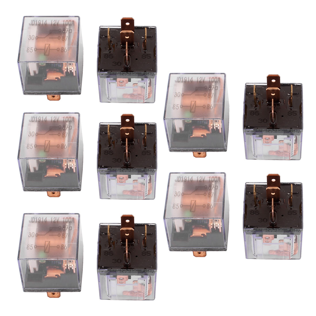 DC 12V 100A 5 Pins SPDT Clear Shell Green Light Car Automotive Alarm Relay 10pcs