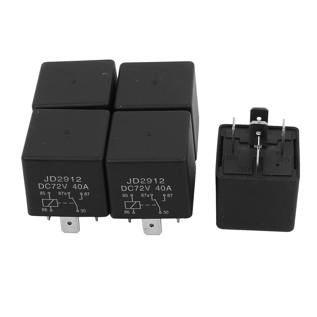 JD2912 DC 72V Coil 40A 5 Pins SPDT Vehicle Car Security Power Relay 5pcs
