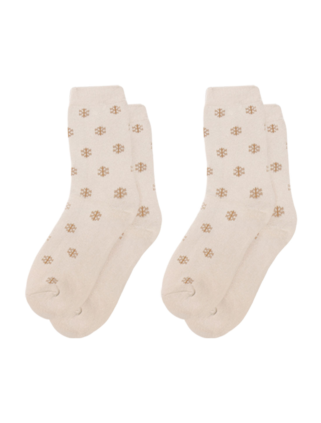 Lady Elastic Cuffs Snowflake Pattern Ankle High Socks 2 pairs Beige 9-11