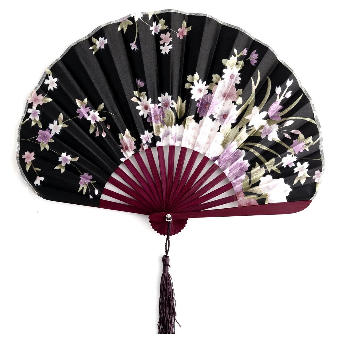 Wedding Household Bamboo Handle Floral Pattern Tassel Pendant Decoration Gift Hand Fan Black