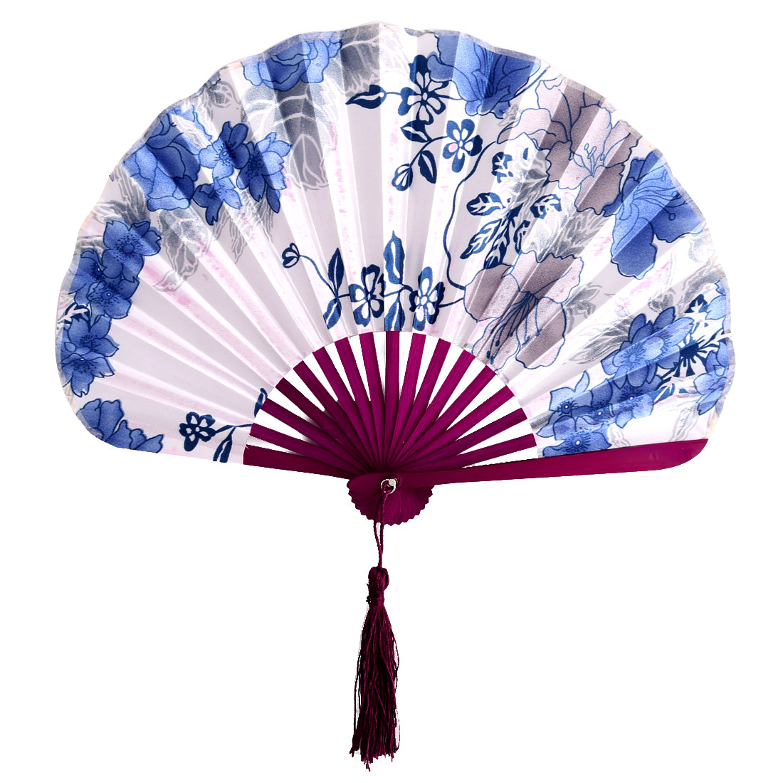 Wedding Household Bamboo Handle Floral Pattern Tassel Pendant Decoration Gift Hand Fan Blue