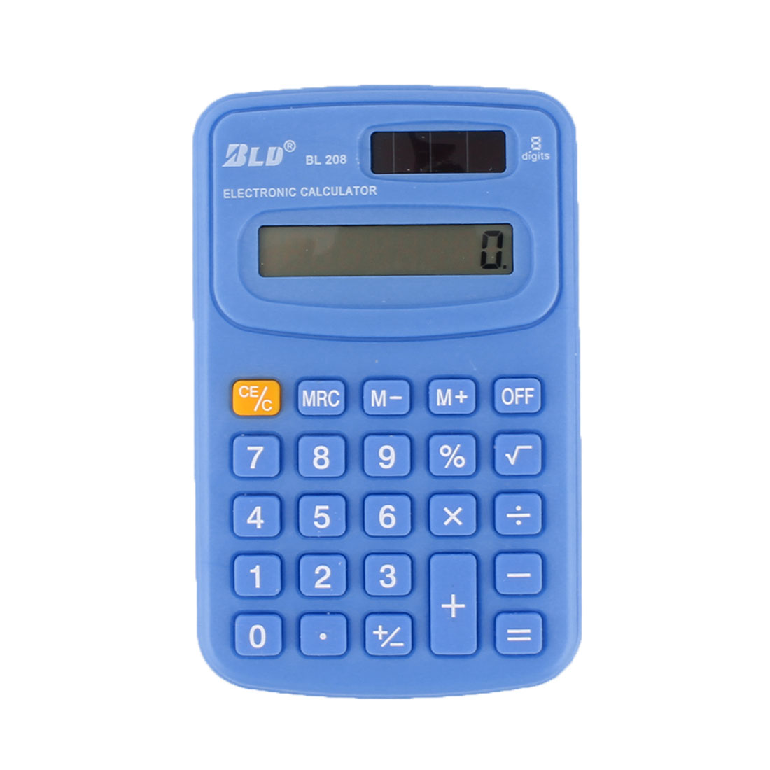 Home Study Pocket Solar Powered 8 Digit Electronic Calculator Blue