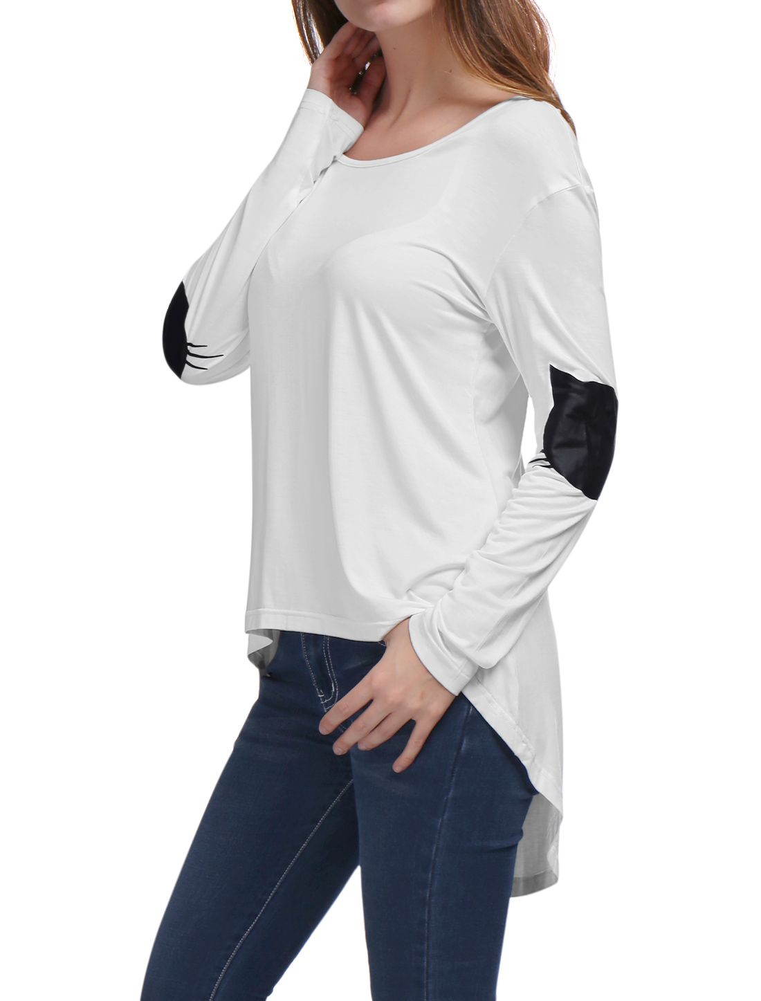 Women Cat Print Hi-Lo Hem Long Sleeves Loose Tunic Top White L