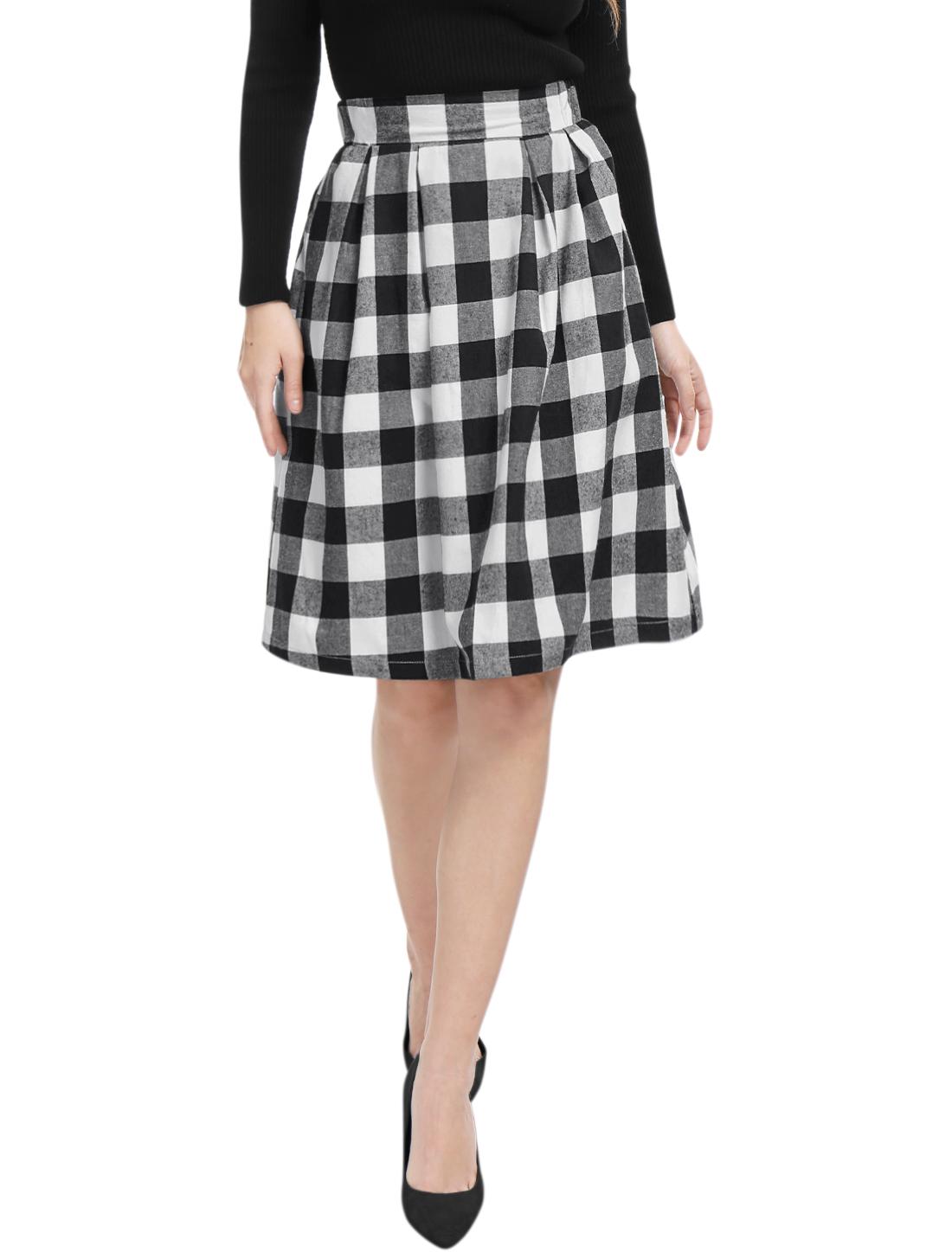Women Inverted Pleats A-line Check Print Knee Length Skirt Black M