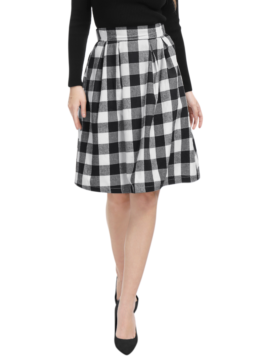 Women Inverted Pleats A-line Check Print Knee Length Skirt Black XL