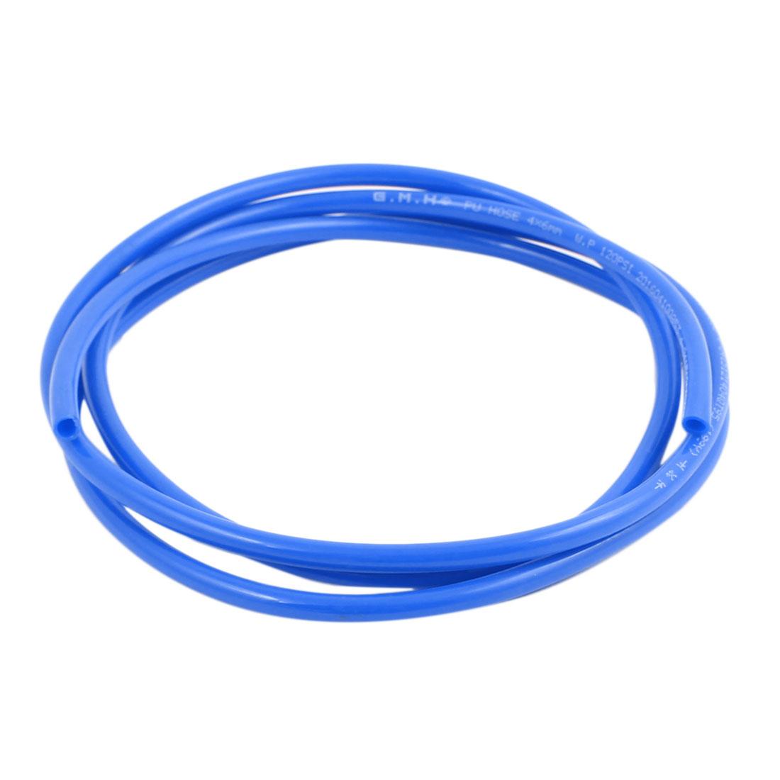 6mm x 4mm Pneumatic Air Compressor Tubing PU Hose Tube Pipe 1.5 meter Blue