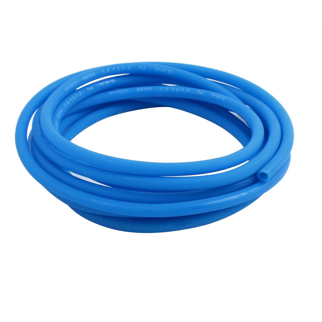 4mm x 6mm Flexible Pneumatic Polyurethane PU Hose Pipe Tube Blue 2.8m Length