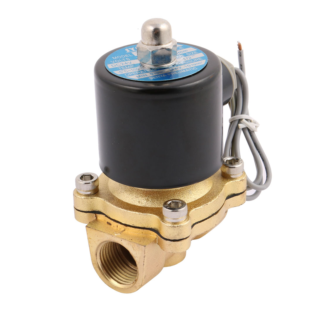 """DC 24V 2W-160-15 NC 1/2"""" 2 Position 2 Way Gas Water Solenoid Valve Copper"""
