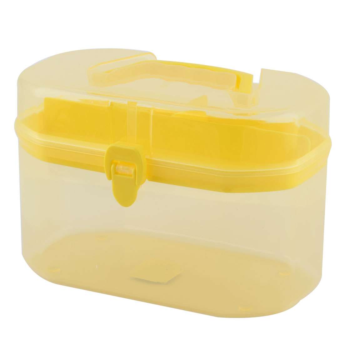 Plastic Household Rectangular Shaped 2 Layers Tool Storage Box Case Yellow