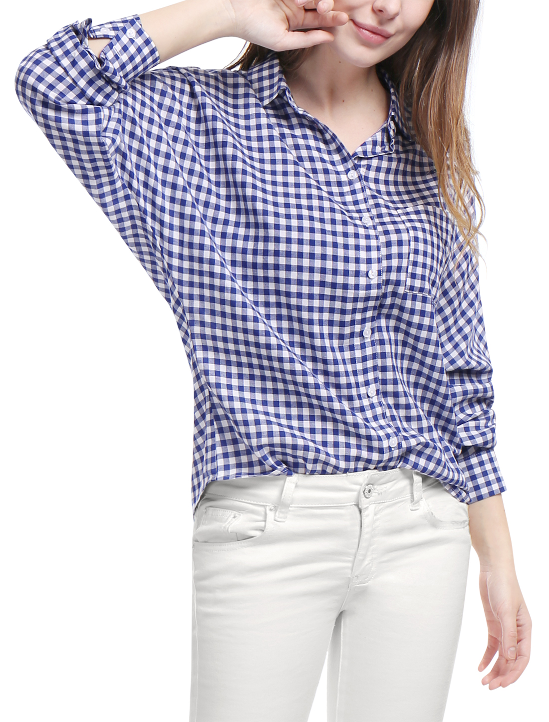 Women Single Breasted Batwing Sleeves Gingham Shirt Blue L