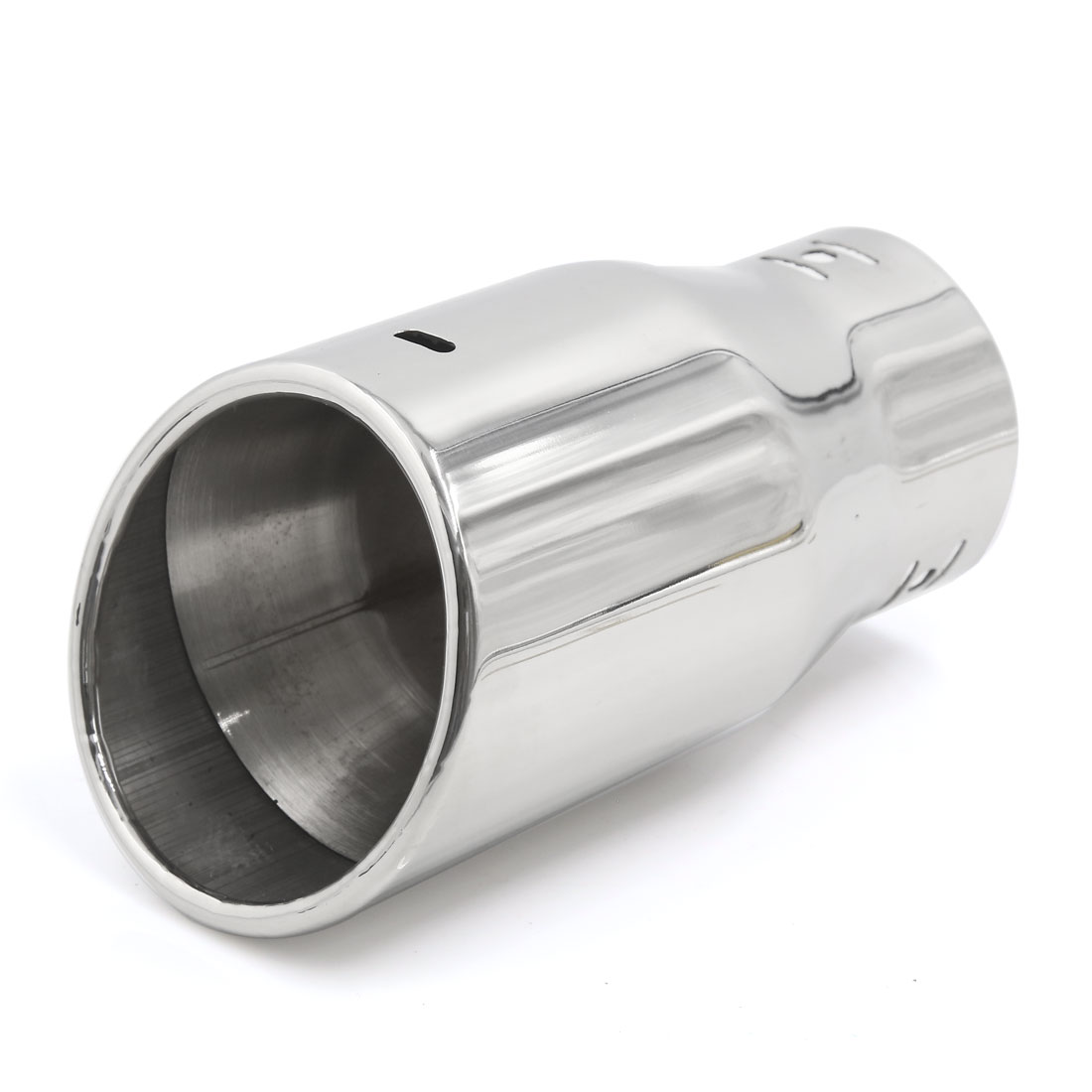 Silver Tone Stainless Steel Straight Round Tip Exhaust Muffler Tail Pipe for Car