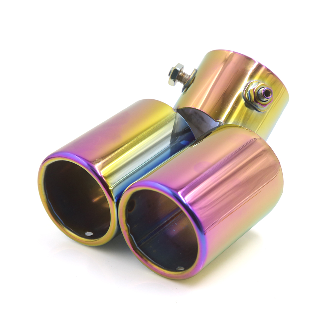 "2.4"" Dia Inlet Double Outlet Exhaust Muffler Tip Silencer Pipe for Car Vehicle"