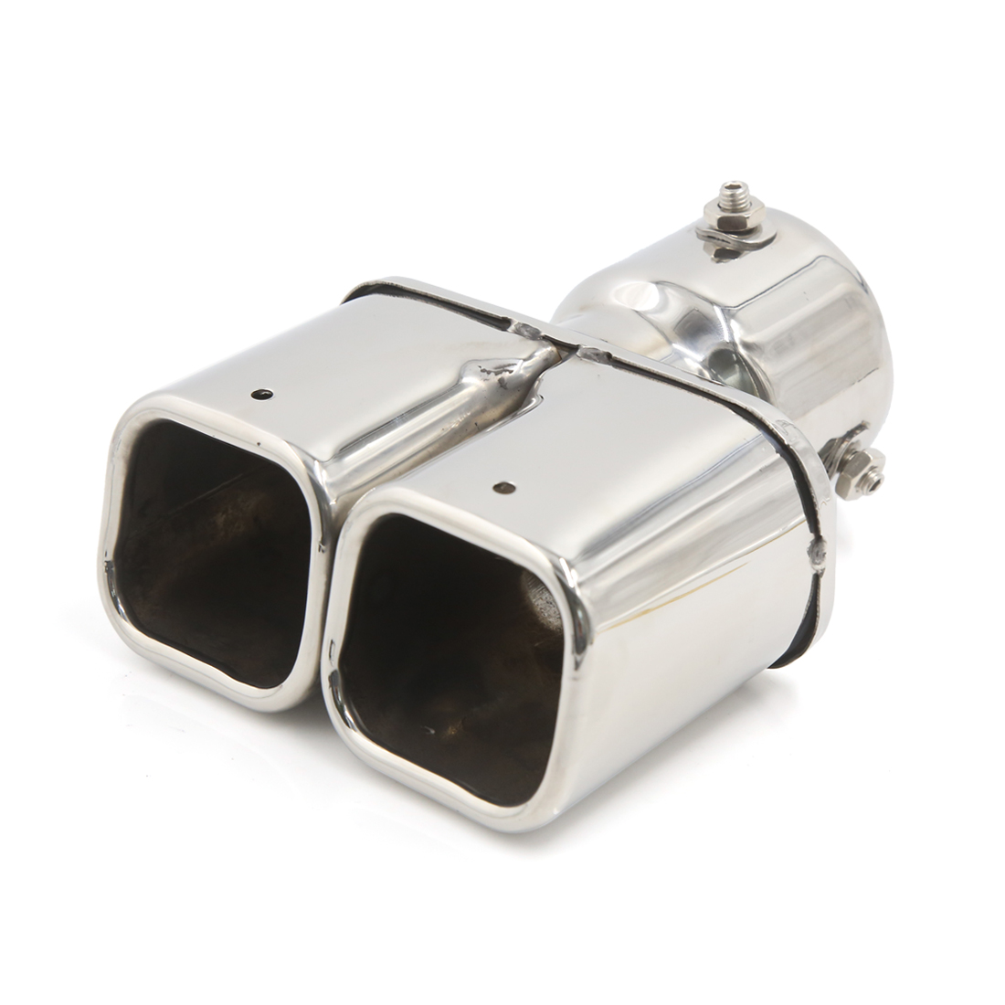 Car Dual Tip 74mm Inlet Stainless Steel Exhaust Muffler Tail Pipe Silver Tone